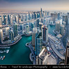 Middle East - GCC - United Arab Emirates - UAE - Dubai - Dubai Marina - Artificial canal city with sky high modern buildings along the sea shore