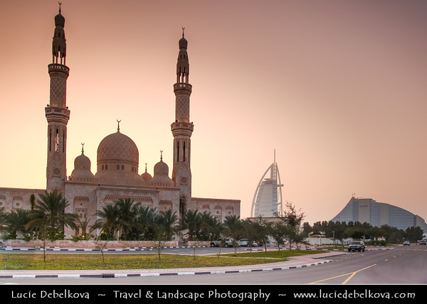 Middle East - GCC - United Arab Emirates - UAE - Dubai - Jumeirah Mosque - Iconic Landmark Mosque & one of the few mosques in the UAE that is open to non-Muslims at Sunset
