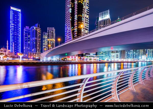 Middle East - GCC - United Arab Emirates - UAE - Dubai - Dubai Marina - Artificial canal city with sky high modern buildings along the sea shore - Dusk - Twilight - Blue Hour - Night