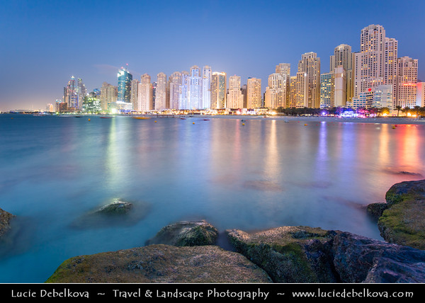 Middle East - GCC - United Arab Emirates - UAE - Dubai - Dubai Marina - Artificial canal city with sky high modern buildings along the sea shore - Twilight - Blue Hour - Night - Dusk
