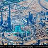 Middle East - GCC - United Arab Emirates - UAE - Dubai - City modern skyline with Burj Khalifa - برج خليفة - Khalifa Tower - Skyscraper & tallest man-made structure in world at 829.8 m (2,722 ft)  - Aerial View