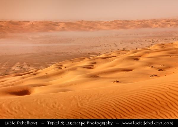 Middle East - GCC - United Arab Emirates - UAE - Abu Dhabi Emirate - Empty Quarter Desert - Rub Al Khali - Arabian Desert - Spectacular sea of sand dunes with mystical morning mist