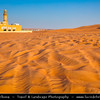 Middle East - GCC - United Arab Emirates - UAE - Emirate of Sharjah - Lonely Mosque in sea of sand dunes in vast desert landscape