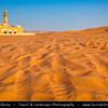 Middle East - GCC - United Arab Emirates - UAE - Emirate of Sharjah - Lonely Mosque in sea of sand dunes in vast desert landscape