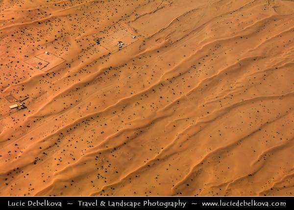 Middle East - GCC - United Arab Emirates - UAE - Empty Quarter Desert - Rub Al Khali - Arabian Desert - Spectacular sea of sand dunes  in vast desert landscape - Aerial View