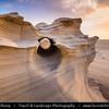 Middle East - GCC - United Arab Emirates - UAE - Emirate of Abu Dhabi - Al Wathba Fossil Dunes Sandstone Formations in Desert during Sunset