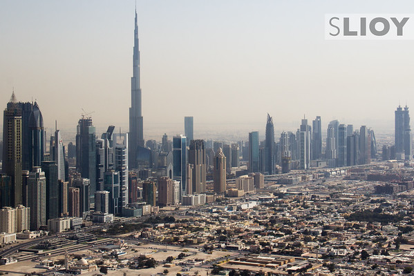 Burj Khalifa and Business Bay as seen from a helicopter tour of Dubai.