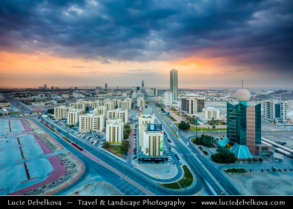 Middle East - GCC - United Arab Emirates - UAE - Emirate of Fujairah - Fujairah - City Skyline with modern buildings towards the coast