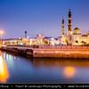 Middle East - GCC - United Arab Emirates - UAE - Emirate of Fujairah - Dibba - Rashed Bin Ahmed Alqassimi Masjid - Beautiful 2 minarets mosque in port area on the shore of the sea