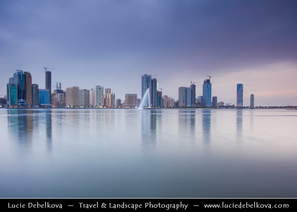 Middle East - GCC - United Arab Emirates - UAE - Emirate of Sharjah - Cityscape with modern sky high buildings around Khaled lagoon at Buhaira Corniche