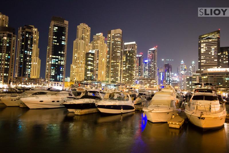 Brightly lit: night in the Dubai Marina.