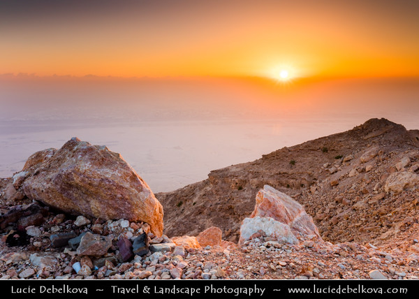 Middle East - GCC - United Arab Emirates - UAE - Emirate of Abu Dhabi - Al Ain - Jabal Hafeet - Jabel - Jebal - Emirate's highest peak and UAE's second, located at border with Oman rising 1,249 metres (4,098 ft) with impressive views over city and nearby landscape during Sunrise