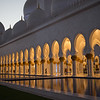 Dusk falls over the Sheikh Zayed Grand Mosque in Abu Dhabi, UAE.