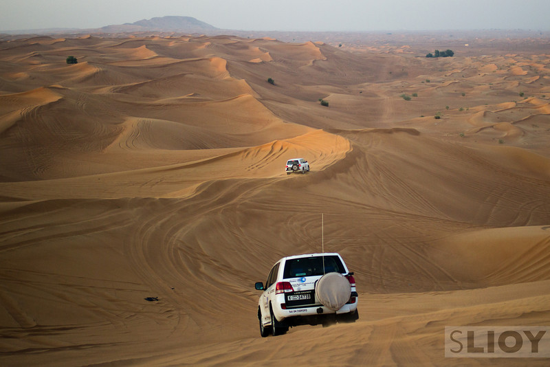 Desert safari dune bashing.<br /> <br /> Dubai, United Arab Emirates