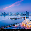 Middle East - GCC - United Arab Emirates - UAE - Emirate of Sharjah - Cityscape with modern sky high buildings around Khaled lagoon at Buhaira Corniche & Al Noor Mosque, influenced by the Sultan Ahmed Mosque in Turkey