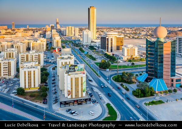 Middle East - GCC - United Arab Emirates - UAE - Emirate of Fujairah - Fujairah - City Skyline with modern buildings towards the coast