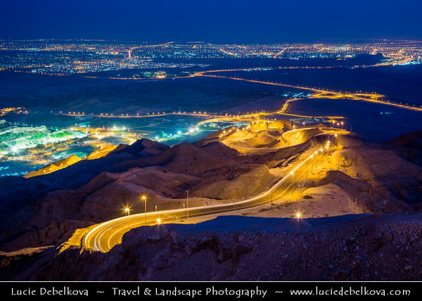 Middle East - GCC - United Arab Emirates - UAE - Emirate of Abu Dhabi - Al Ain - Jabal Hafeet - Jabel - Jebal - Emirate's highest peak and UAE's second, located at border with Oman rising 1,249 metres (4,098 ft) with impressive views over city and nearby landscape
