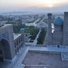 view over Samarkand (sand/dessert) with the Tilya-Kori Madrasah (l) & Sher-Dor Madrasah (r)