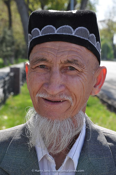man with traditional Uzbek headgear: Tubeteika