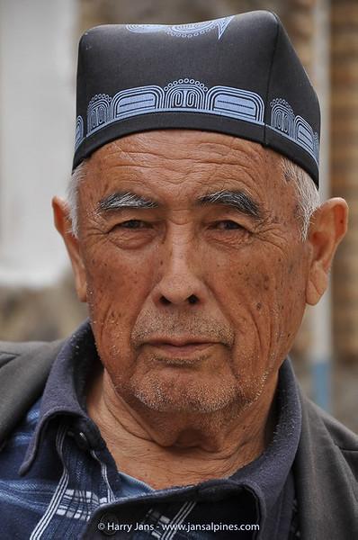 man with traditional Uzbek headgear: Tubeteika