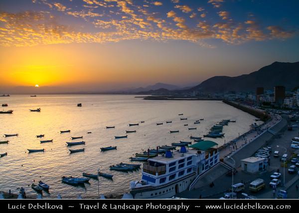Middle East - Yemen - Hadramaut Governorate - Al Mukalla - المكلا - Al Mukhala - Al Mukala - Main sea port in the southern part of Arabia on the Gulf of Aden - Sunset over the port