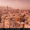 Middle East - Yemen - Sana'a - Sanaa - Sana - UNESCO World Heritage Site - One of the oldest continuously inhabited cities in the world & one of the highest capital cities in the world at an altitude of 2,300 metres (7,500 ft) - Stunning historical old town with many-storeyed tower-houses built of rammed earth (pisé)
