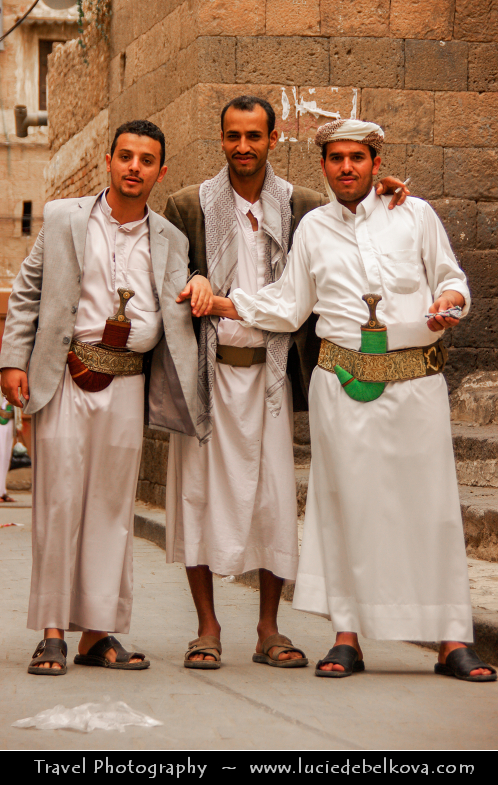 Middle East - Yemen - Sana'a - Sanaa - Sana - UNESCO World Heritage Site - One of the oldest continuously inhabited cities in the world & one of the highest capital cities in the world at an altitude of 2,300 metres (7,500 ft) - Stunning historical old town - Local men wearing traditional Jambiya - Arabian dagger popularly worn in Yemen