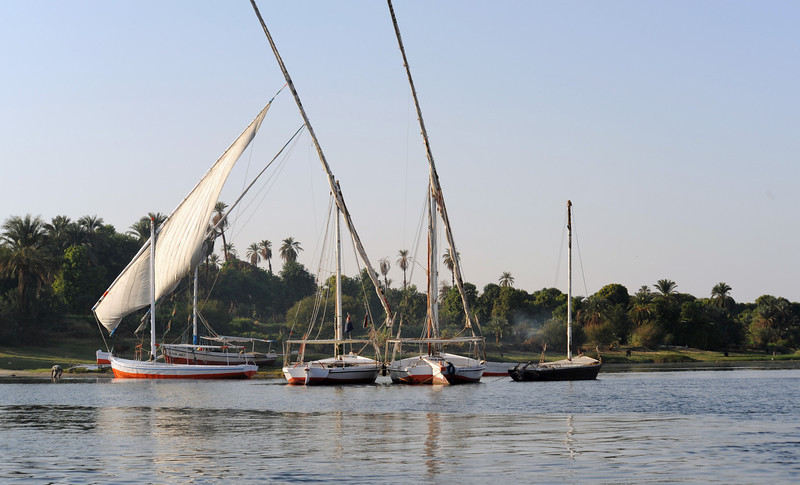 Felucas docked on the Nile
