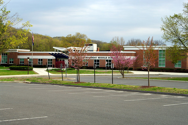 Former Pomperaug High School in Southbury - now a middle school. View from the former student parking lot toward old administrative office location. Everything shown is new since it was the high school. I attended from 1974-78.