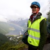 Geiranger: Flydalsjuvet: Peter with rainbow over ships