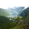Geiranger: Flydalsjuvet: Rainbow over ships, the iconic view