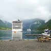 Geiranger: From shore toward MSC Fantasia and Viking Sea