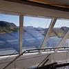 Viking Sea: Approaching narrow channel near Dolma, through Explorers' Lounge windows