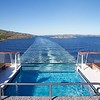 Viking Sea: Leaving Rørvik from stern with wake and infinity pool