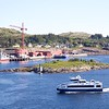 Viking Sea: At Rørvik with Sjø-Sara statue on Småholman and ferry