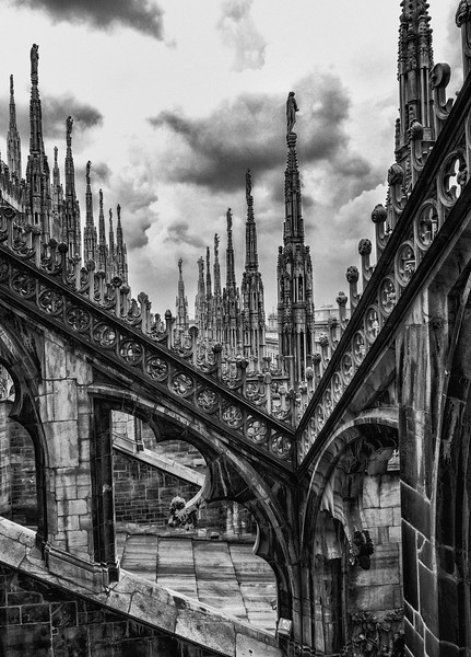 The Duomo Spires in B&W