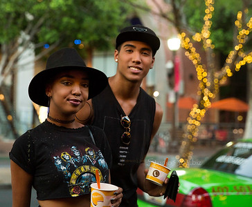 black hat couple on Mill Ave 2298