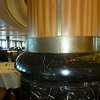 All pillars in dining room are worn. Looks dirty