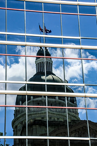 Reflection of the Indiana State Capital Building in Indianapolis