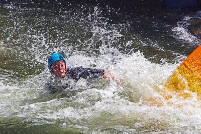 Taking a spill on the Gull River's white water