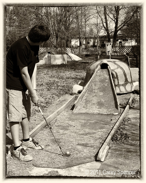 Josh playing a round of mini golf for old times sake