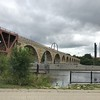 Stone bridge spanning the Mississippi.