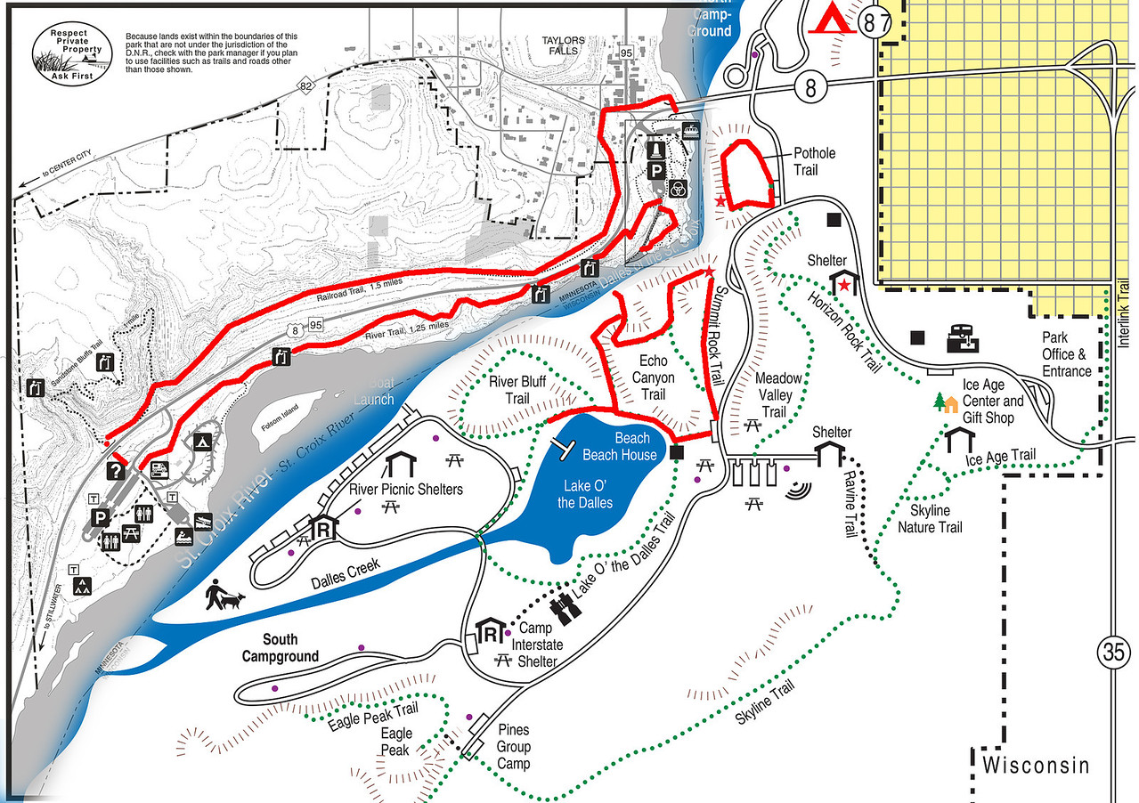Minnesota and Wisconsin Interstate Park map