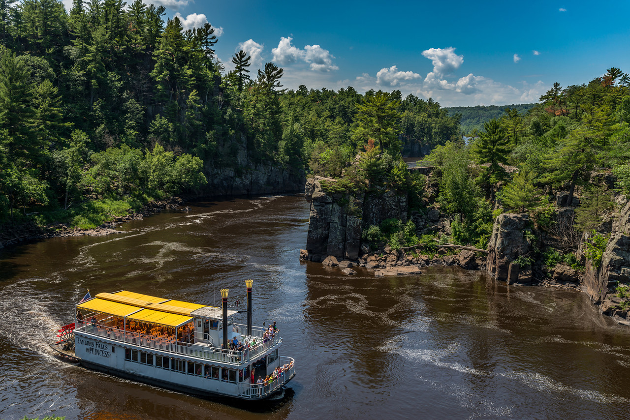 The Taylors Falls Princess navigates the Dalles of the St Croix River. View from the Pothole Trail (WI)