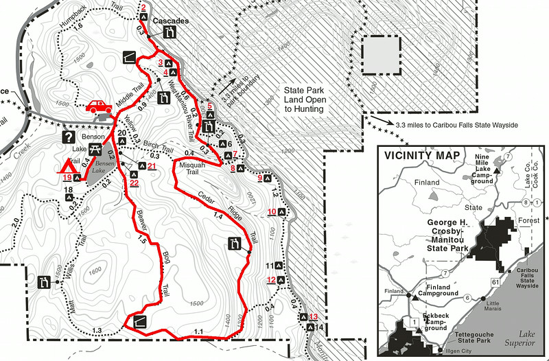 "Trip map. George H. Crosby - Manitou State Park, Minnesota. Left click on map then select ""Sizes -> Original"" in bottom right corner of screen to view full size."