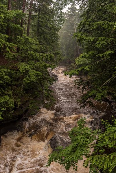 Presque Isle River in flood. Porcupine Mountains, Michigan