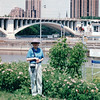 St. Anthony Falls Lock and Dam, Minneapolis, MN  5-30-99<br /> There is a life of 50' in the lock.  Stone Arch Bridge in the background.