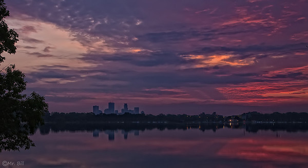 View of Sunrise over Downtown Minneapolis as taken from Lake Calhoun