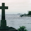 Shroeder Village - Granite Father Baragas Cross at Base of Cross River - North Shore Drive of Lake Superior, MN  6-1-99