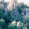 Boat Tour of Dallas of the St. Croix River Gorge - Taylor Falls, MN  6-4-99<br /> Unusual rock formations in gorge - lava cliffs eroded by river during glacial period - rise is sharply at about 200 feet.